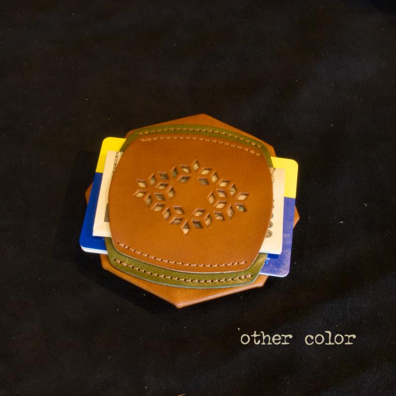 コインケース レザー 折り紙 麻柄 ミニ財布