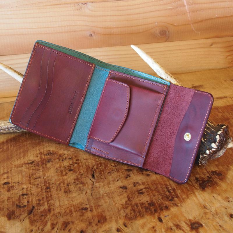 ミドルウォレット ハーフウォレット レザー 折りたたみ財布 麻柄 オリジナル